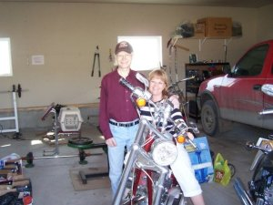 A snapshot of Ross and I when I first met him in person. He loved God, his friends and his bikes. When this was taken in the summer of 2009, he had not been able to ride for quite some time. Our prayer during that time that God would shower him in both peace and comfort as he continued his battle with cancer and that pray that he regain enough strength to ride his bikes again. God answered those prayers and Ross took a little excursion on this very Chopper a few months later....God is good!