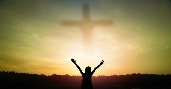 praise God girl and cross in sky
